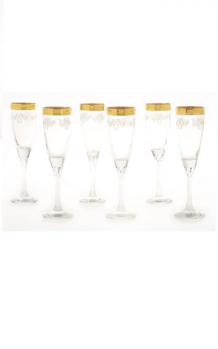 Wine Gles With 18kt Gold Plated