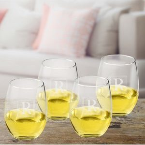 Initial Stemless Wine Glass Set